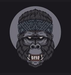 Gorilla head bandana vector
