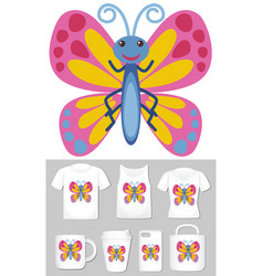 Graphic butterfly on different product vector