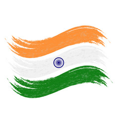 Grunge brush stroke with national flag of india vector