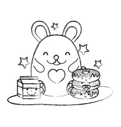 grunge cute mouse with donuts and milk box vector image