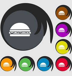 Hamburger icon sign Symbols on eight colored vector image