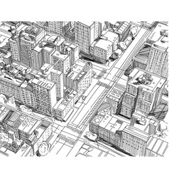 hand drawn city plan sketch vector image