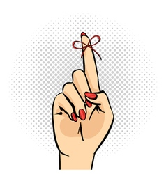 Hand drawn pop art hand with reminder vector