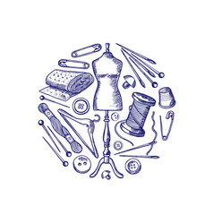 Hand drawn sewing elements vector