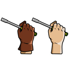 Hand holding screwdriver vector