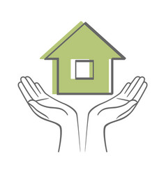 Hands holding house sketch icon isolated on white vector