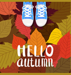 Hello autumn color person feet vector