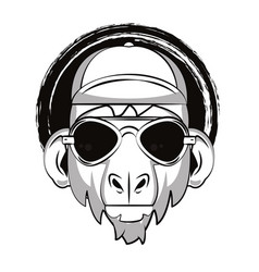 hipster monkey cool sketch vector image