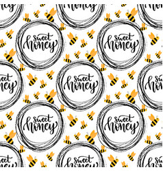 Honey seamless pattern with bee packaging design vector