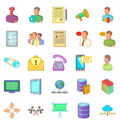 Huckster icons set cartoon style vector