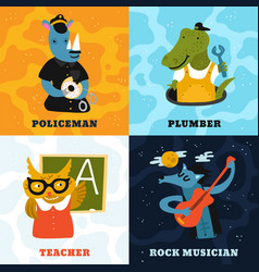 Humanized animals different professions concept vector