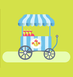 Ice cream cart with striped tent on green medow vector