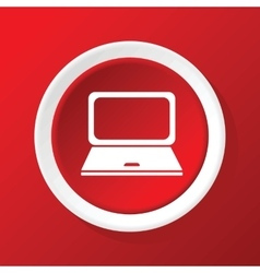 Laptop icon on red vector