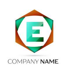 Letter e symbol in the colorful hexagonal vector