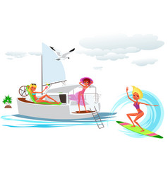 lovely cartoon girl surfing on crystal blue wave vector image