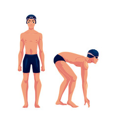 male swimmer in swimming suit cap standing and vector image