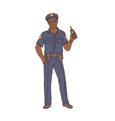 man black policeman in uniform and cap with a vector image
