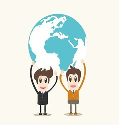 Man Holding Earth Business man vector image