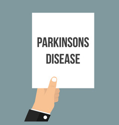 man showing paper parkinsons disease text vector image
