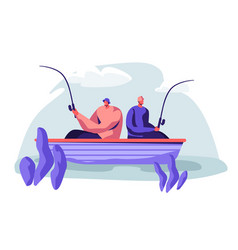 men fishing in boat on lake or river at summer day vector image