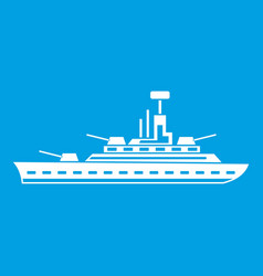 Military warship icon white vector