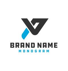 monogram logo design letter pv vector image
