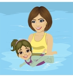 Mother teaching her little girl how to swim vector
