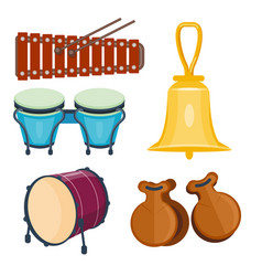 Musical drum wood rhythm music instrument series vector
