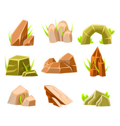 Natural brown and green rocks different shape vector