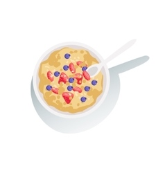 Oatmeal Porridge With Fresh Berries Classic vector