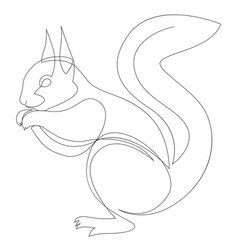 One line squirrel drawing squirrel in minimal vector