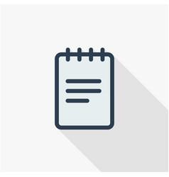 Paper notebook sketchbook notepad thin line flat vector