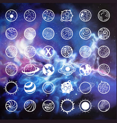 planets icon set vector image