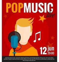 Pop Singer Flat Poster vector