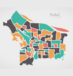 Portland oregon map with neighborhoods and modern vector