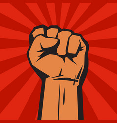 raised hand with clenched fist on red background vector image