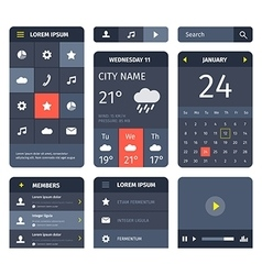 Red and blue set of mobile interface elements on vector