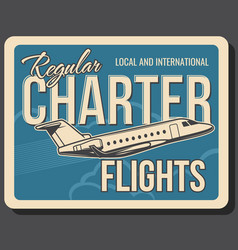 Regular charter flights international private jet vector