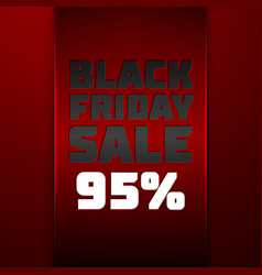 Ribbon with black friday sale ninety five percent vector