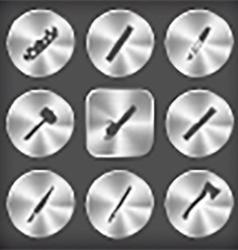 round and square steel button vector image
