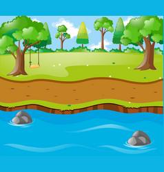 Scene with river run trhough park vector