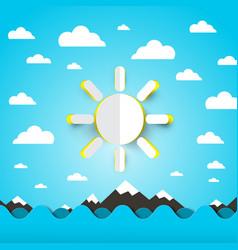 sea ocean waves with paper cut sun on blue sky vector image