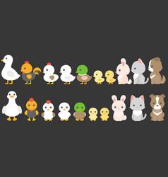 set animals in farm vector image