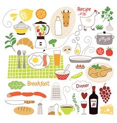 Set cartoon food ingredient vector