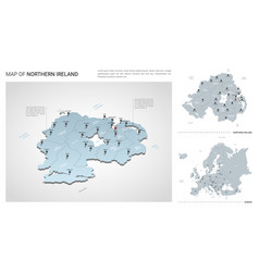 set northern ireland country isometric 3d map vector image