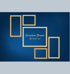 set of decorative frame picture with gold border vector image