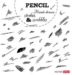 Set of hand-drawn pencil strokes and scribbles vector