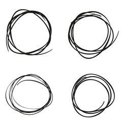 set of hand drawn scribble circles flat design vector image