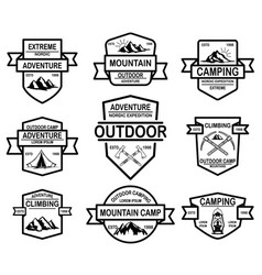 set of mountain camp emblem templates design vector image