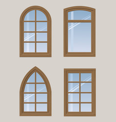 set of wooden windows vector image